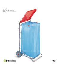 Тележка-держатель хромированная для мусора с крышкой и педалью EUROMOP 6048007
