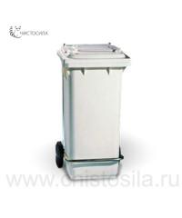 Контейнер для мусора пластиковый на колесах с крышкой и педалью 120л, зеленый EUROMOP 5950121.03