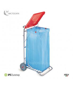 Тележка хромированная для мусора EUROMOP с крышкой и педалью